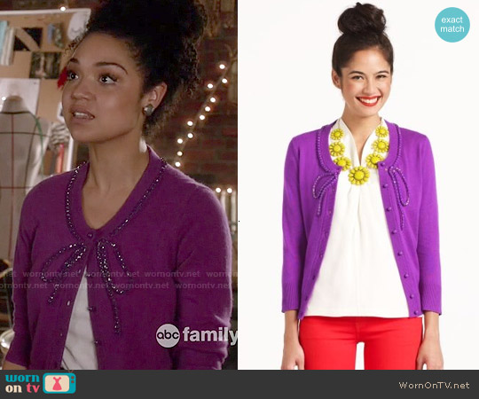 Kate Spade Bow Ellis Cardigan worn by Aisha Dee on Chasing Life