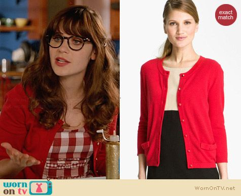 Kate Spade Carine Cardigan worn by Zooey Deschanel on New Girl