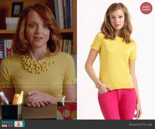 Kate Spade Caroline Sweater in Yellow worn by Jayma Mays on Glee