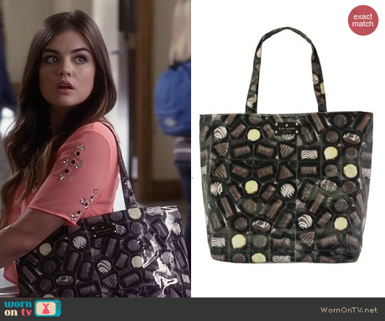 Kate Spade Chocolate Bon Shopper Tote worn by Aria Montgomery on PLL