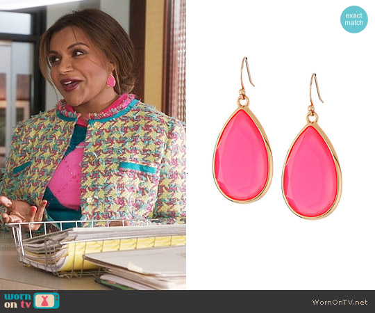 Kate Spade Flo Pink Day Tripper Earrings worn by Mindy Lahiri on The Mindy Project