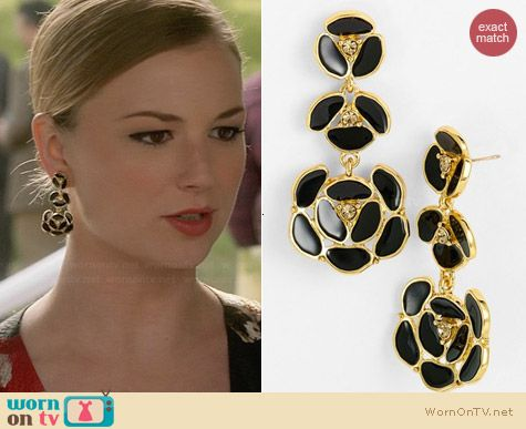 Kate Spade Disco Pansy Earrings worn by Emily VanCamp on Revenge