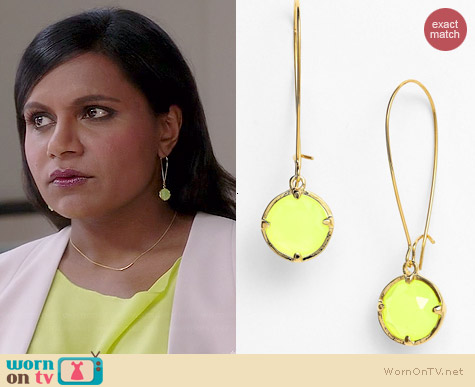 Kate Spade Drop Earrings worn by Mindy Kaling on The Mindy Project
