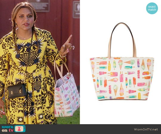 Kate Spade Ice Cream Francis Tote worn by Mindy Kaling on The Mindy Project
