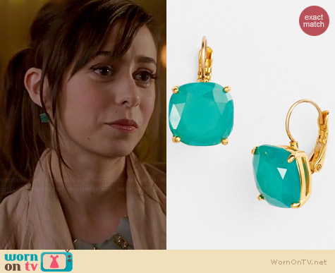 Kate Spade Green Square Drop Earrings worn by Cristin Milioti on A to Z