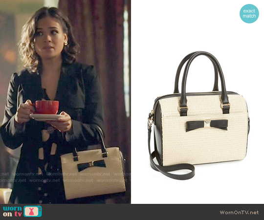 Kate Spade Holly Street Straw Ashton Satchel worn by Heather Chandler on Beauty & the Beast