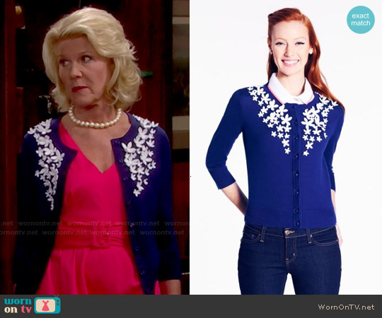 Kate Spade Lacer Flower Kati Cardigan worn by Pamela Douglas on The Bold & the Beautiful