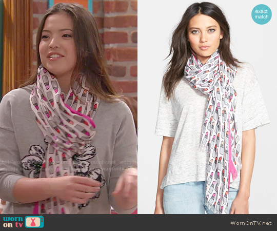 Kate Spade Lipstick Print Scarf worn by Jasmine Kang on I Didnt Do It