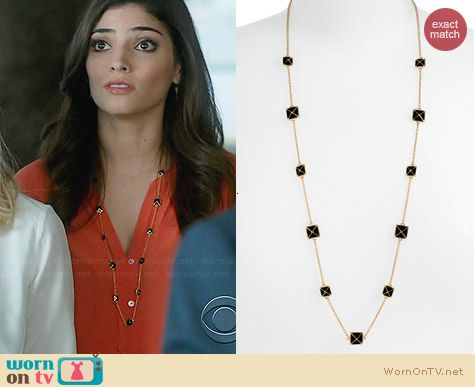 Kate Spade Locked In Long Pyramid Necklace worn by Amanda Setton on The Crazy Ones