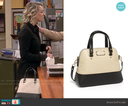 Kate Spade 'Small Grove Court Maise' Leather Satchel in Seedpearl / Black worn by Kaley Cuoco on The Big Bang Theory