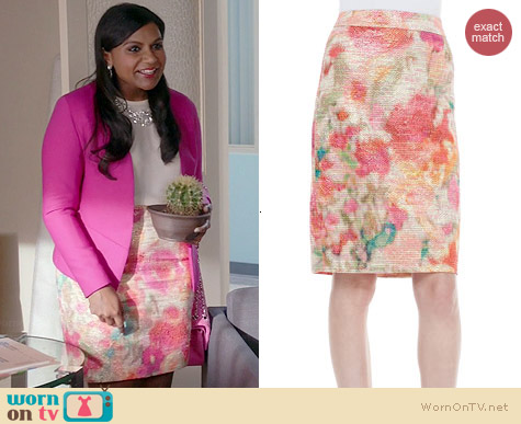 Kate Spade Marit Floral Pencil Skirt worn by Mind Kaling on The Mindy Project