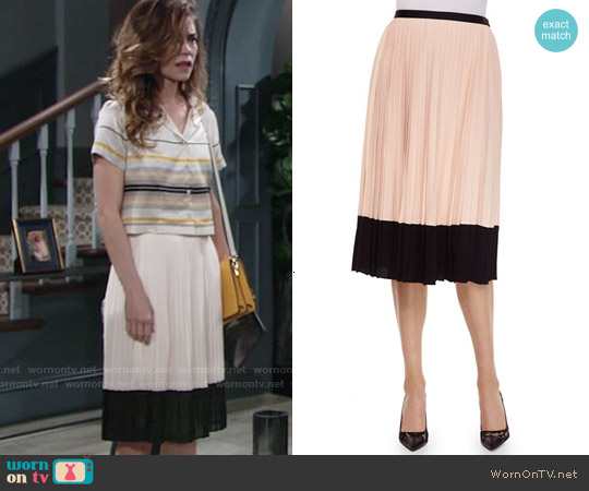 Kate Spade Pleated Midi Two Tone Skirt worn by Victoria Newman on The Young & the Restless