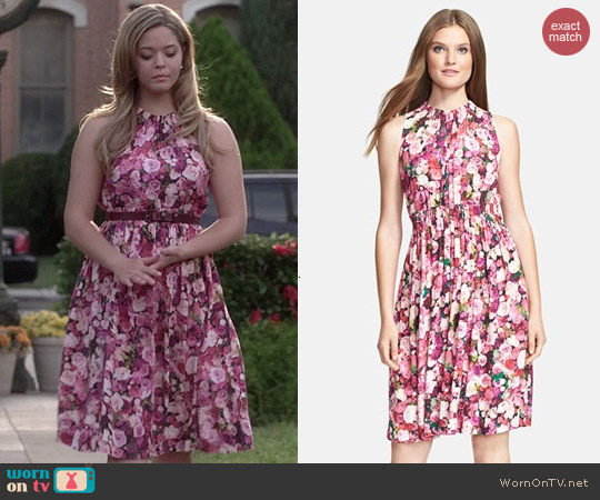 Kate Spade Rose Print Dress worn by Sasha Pieterse on PLL