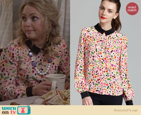 Kate Spade Shelley Top in Darcel Print worn by AnnaSophia Robb on The Carrie Diaires