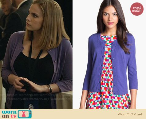 Kate Spade Sofia Cardigan in Aster worn by Anna Chlumsky on Veep