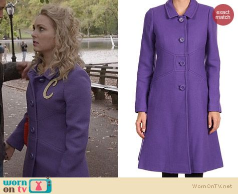 Kate Spade Tiera Coat in Sonia Purple worn by AnnaSophia Robb on The Carrie Diaries