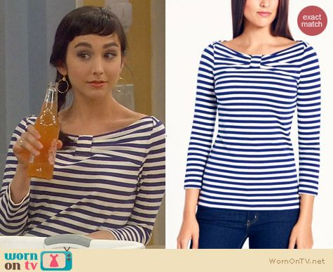 Kate Spade Wheaton Top in Navy worn by Molly Ephraim on Last Man Standing