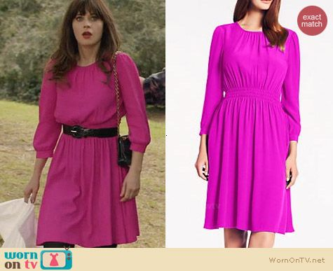 Kate Spade Zari Dress in Vivid Snapdragon worn by Zooey Deschanel on New Girl