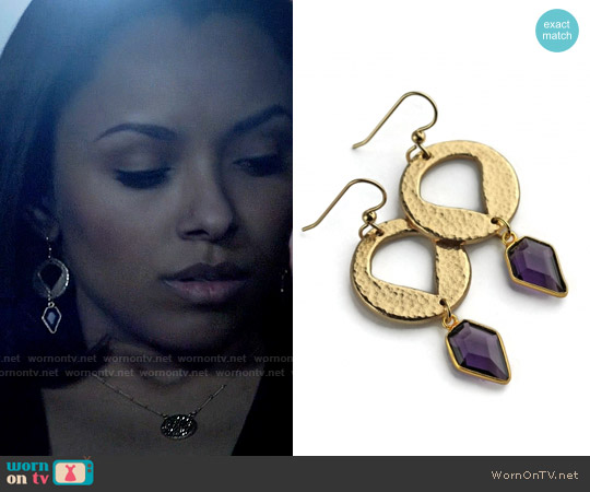 Kathryn Designs Amethyst Shield Earrings worn by Bonnie Bennett on The Vampire Diaries