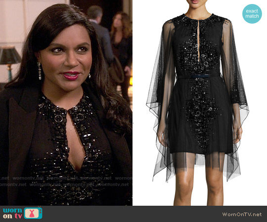 Kaufman Franco Moroccan Jeweled Mesh Dress worn by Mindy Kaling on The Mindy Project