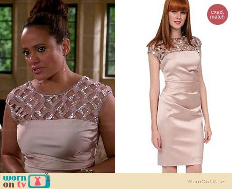 Kay Unger Sequined Lattice-Yoke Satin Sheath Dress worn by Judy Reyes on Devious Maids