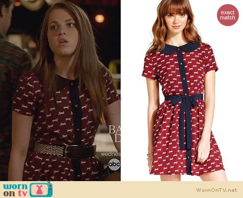 Keds Dog Print Belted Dress worn by Anne Winters on The Fosters