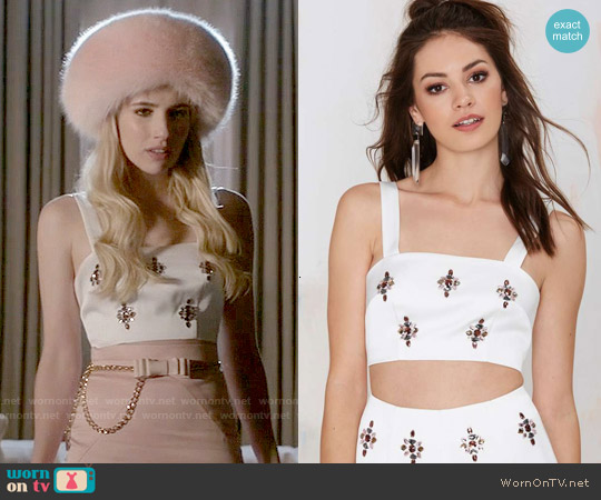 Keepsake City Heat Rhinestone Crop Top worn by Emma Roberts on Scream Queens