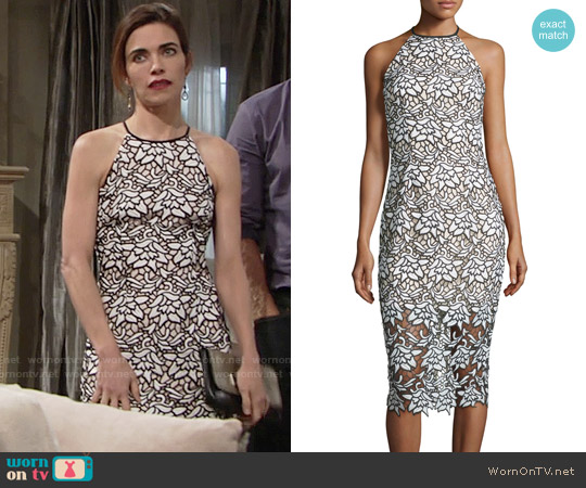 Keepsake True Love Sleeveless Lace Midi Dress worn by Amelia Heinle on The Young & the Restless