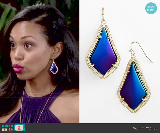 Kendra Scott Alex Drop Earrings worn by Mishael Morgan on The Young & the Restless