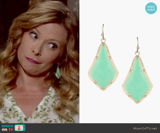 Kendra Scott Alex Earrings in Gold Seafoam worn by Kelly Andrews on The Young & the Restless