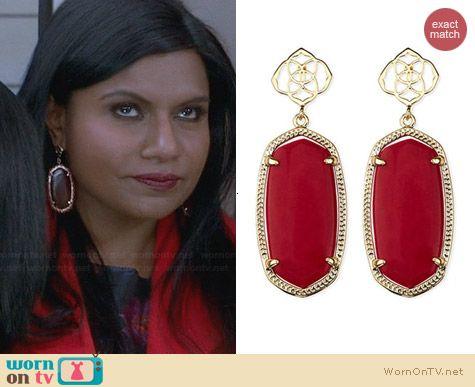 Kendra Scott Debbie Earrings worn by Mindy Kaling on The Mindy Project
