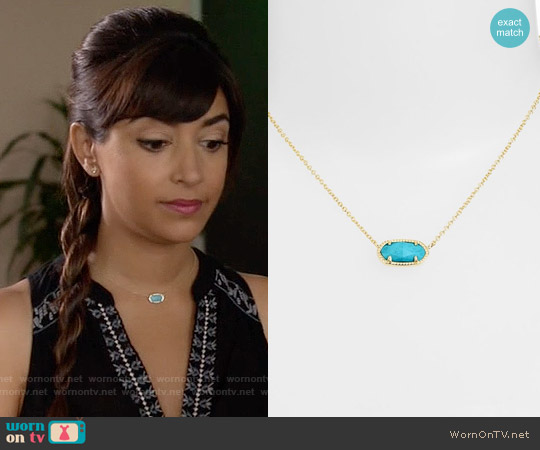 Kendra Scott Elisa Pendant Necklace in Gold Turquoise worn by Cece Parekh on New Girl