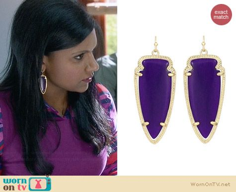 Kendra Scott Skylar Earrings in Purple Jade worn by Mindy Kaling on The Mindy Project