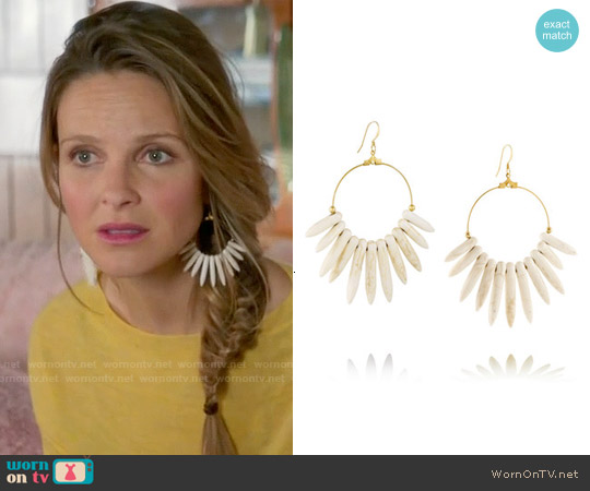 Kenneth Jay Lane Gold-plated Magnesite Spike Earrings worn by Phoebe Wells on GG2D