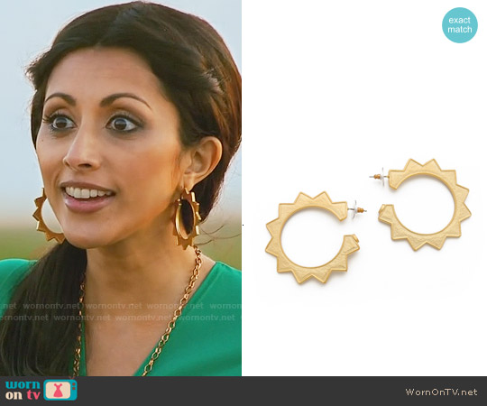 Kenneth Jay Lane Sun Hoop Earrings worn by Divya Katdare on Royal Pains