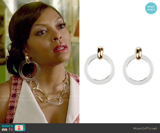 Kenneth Jay Lane Transparent Hoop Earrings worn by Cookie Lyon on Empire
