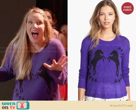 Kensie Purple Horse Sweater worn by Heather Morris on Glee