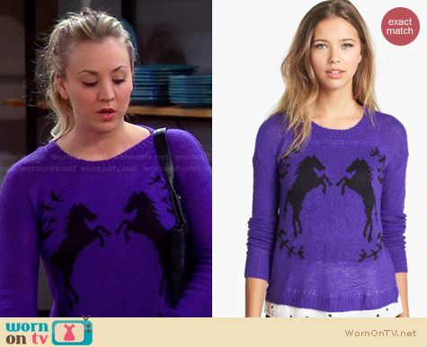 Kensie Purple Horse Sweater worn by Kaley Cuoco on The Big Bang Theory