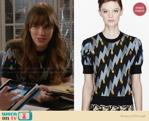Kenzo Fancy Lightning Bolt Gemmed Shirt worn by Christa Allen on Revenge