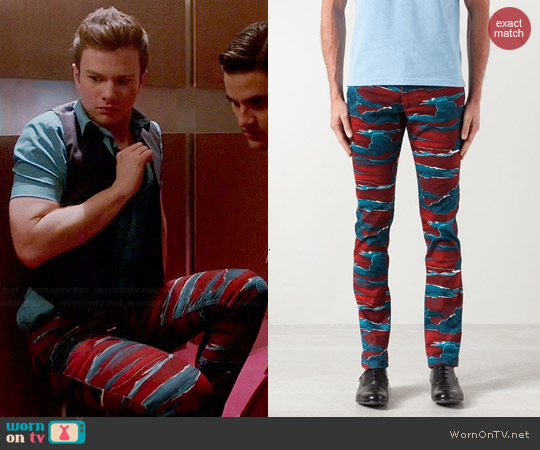Kenzo Cloud Print Skinny Jeans worn by Chris Colfer on Glee