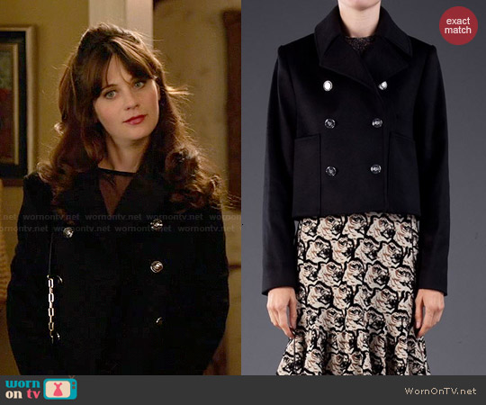 Kenzo Cropped Peacoat worn by Jessica Day on New Girl