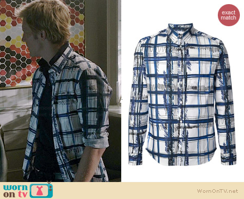 Kenzo Scribble Check Shirt worn by Gabrielle Mann on Revenge