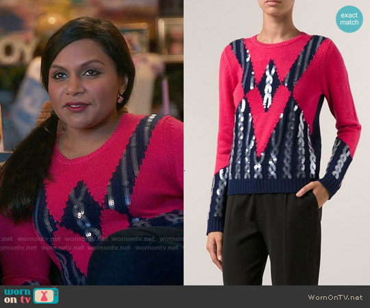 Kenzo Sequined Sweater worn by Mindy Kaling on The Mindy Project