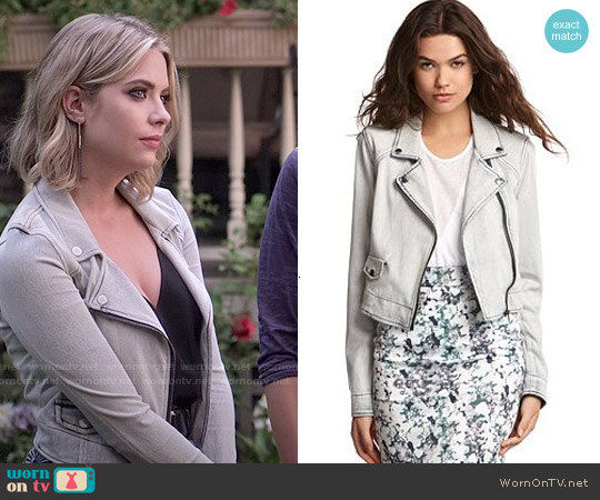 Kiind Of Light Wash Denim Moto Jacket worn by Ashley Benson on PLL