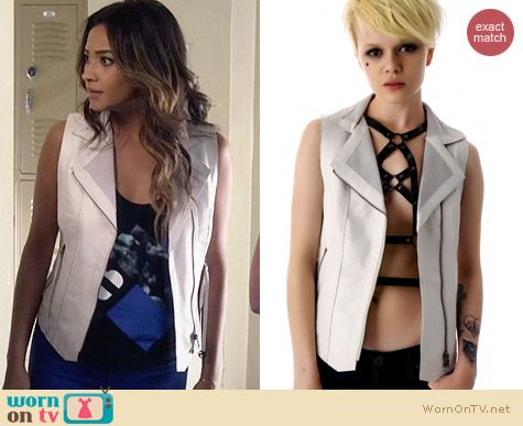 Kill City Right To Bare Arms Leather Vest worn by Shay Mitchell on PLL