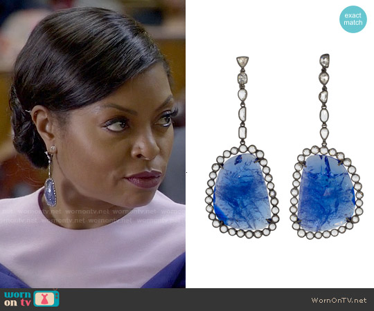 Kimberly McDonald Fall 2015 Blue Earrings worn by Cookie Lyon on Empire