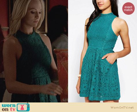 Kimchi Blue High Neck Lace Dress worn by Candice Accola