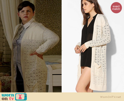 Kimchi Blue Pointelle Open Front Cardigan worn by Ginnifer Goodwin on OUAT