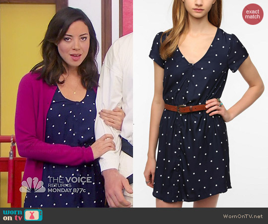 Kimchi Blue Silky Sabrina Shirt Dress worn by Aubrey Plaza on Parks & Rec