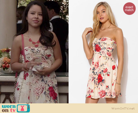 Kimchi Blue Strapless Floral Dress in Oyster worn by Cierra Ramirez on The Fosters